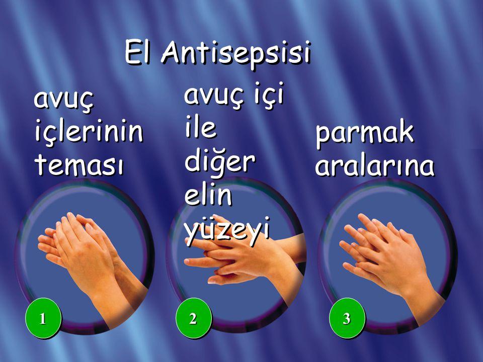 avuç içi ile diğer elin yüzeyi avuç içlerinin teması parmak aralarına