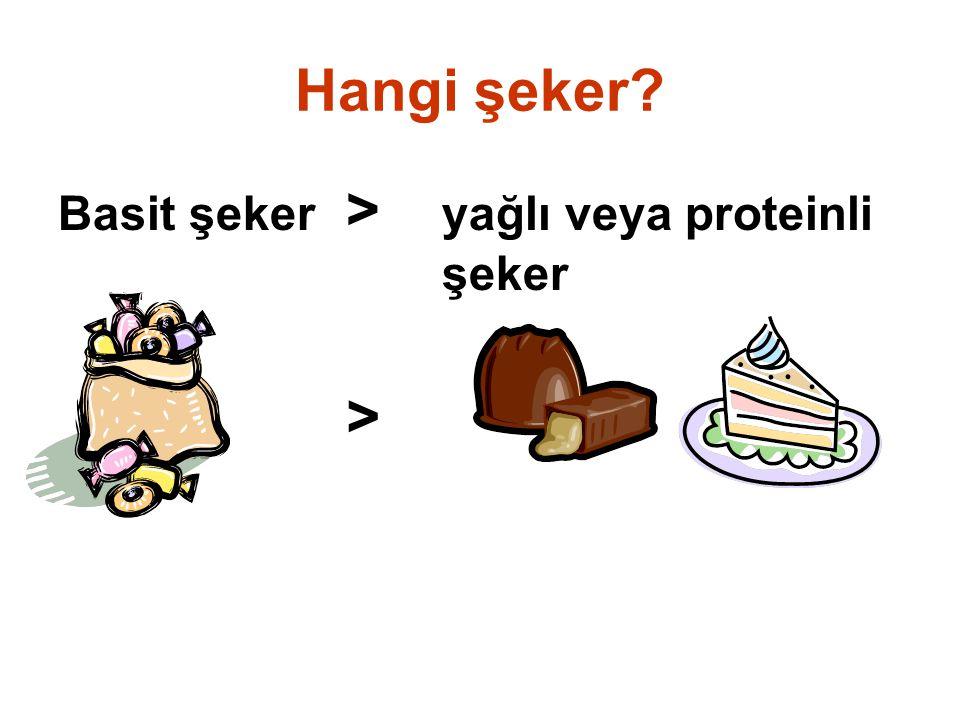Hangi şeker Basit şeker > yağlı veya proteinli şeker >