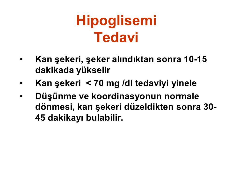 Hipoglisemi Tedavi Kan şekeri, şeker alındıktan sonra 10-15 dakikada yükselir. Kan şekeri < 70 mg /dl tedaviyi yinele.