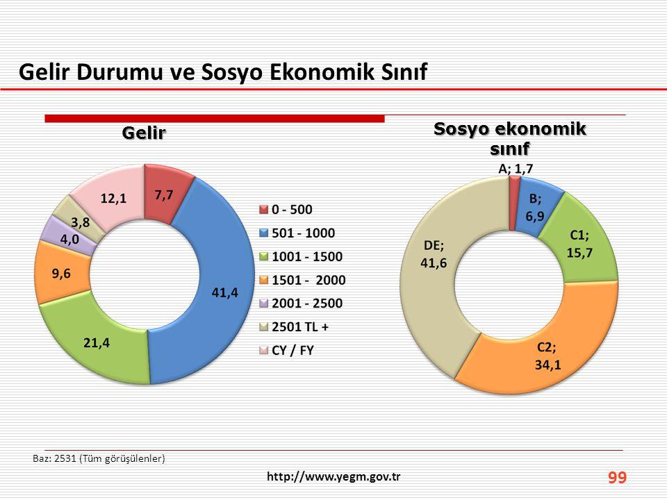 Gelir Durumu ve Sosyo Ekonomik Sınıf