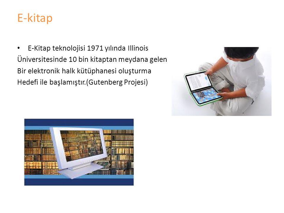 E-kitap E-Kitap teknolojisi 1971 yılında Illinois