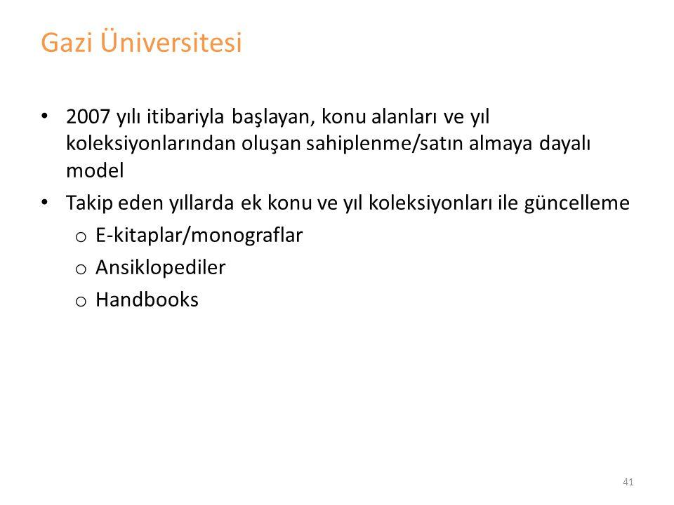 Gazi Üniversitesi 2007 yılı itibariyla başlayan, konu alanları ve yıl koleksiyonlarından oluşan sahiplenme/satın almaya dayalı model.