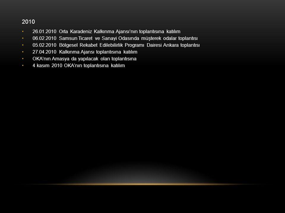 2010 26.01.2010 Orta Karadeniz Kalkınma Ajansı'nın toplantısına katılım. 06.02.2010 Samsun Ticaret ve Sanayi Odasında müşterek odalar toplantısı.
