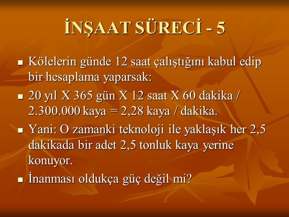 İNŞAAT SÜRECİ - 5 Kölelerin günde 12 saat çalıştığını kabul edip bir hesaplama yaparsak: