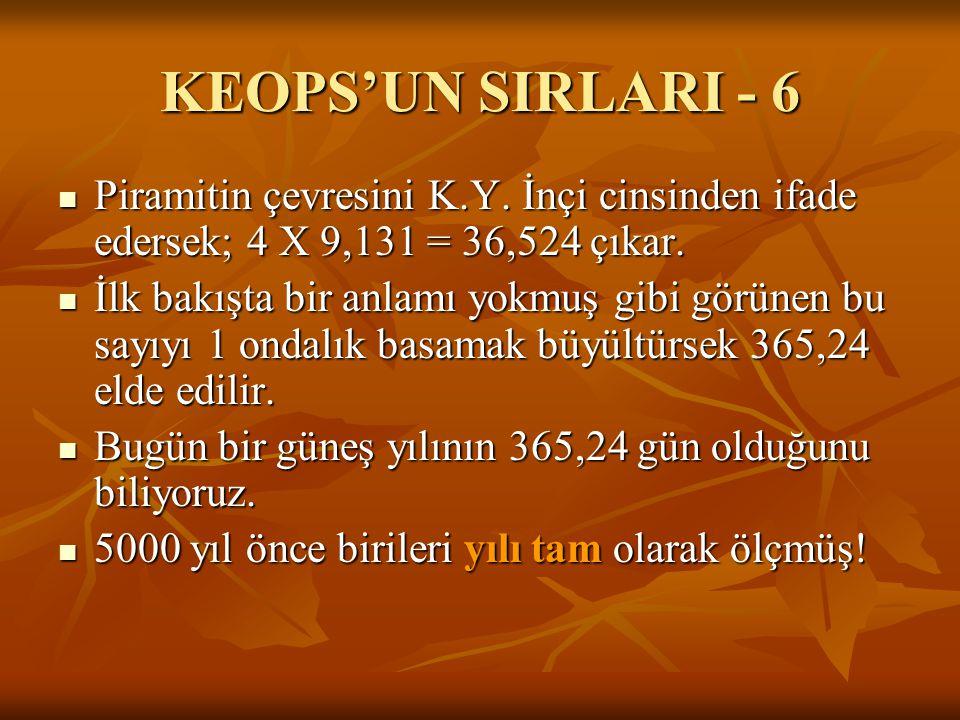KEOPS'UN SIRLARI - 6 Piramitin çevresini K.Y. İnçi cinsinden ifade edersek; 4 X 9,131 = 36,524 çıkar.