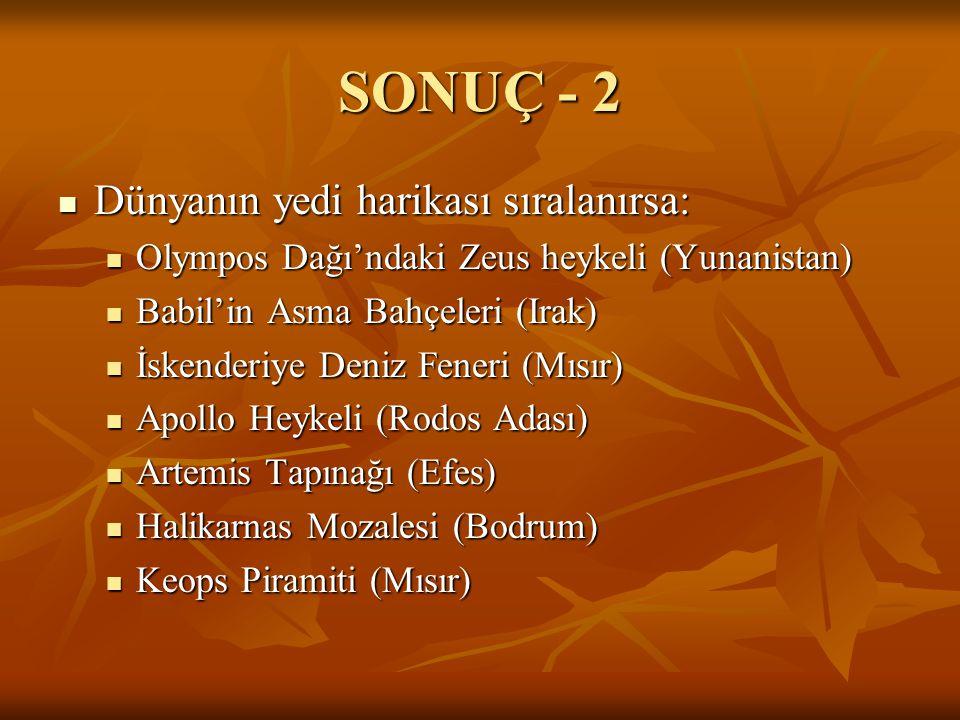 SONUÇ - 2 Dünyanın yedi harikası sıralanırsa: