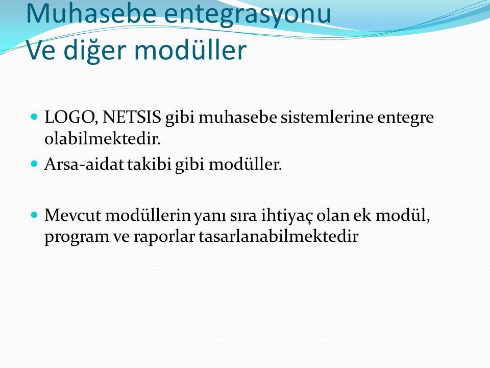 Muhasebe entegrasyonu Ve diğer modüller