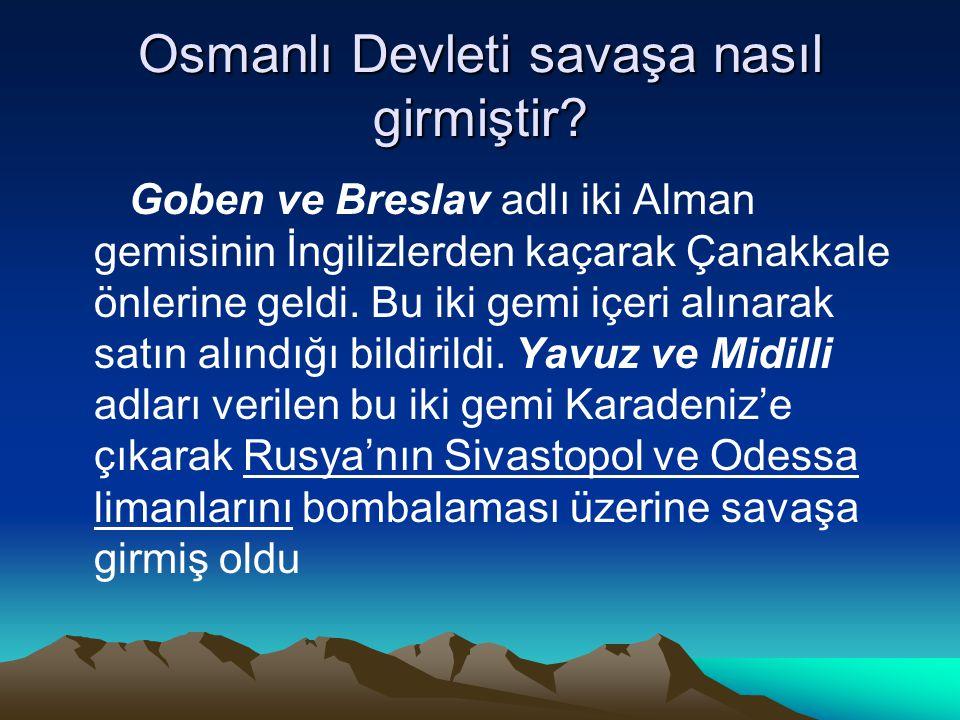 Osmanlı Devleti savaşa nasıl girmiştir