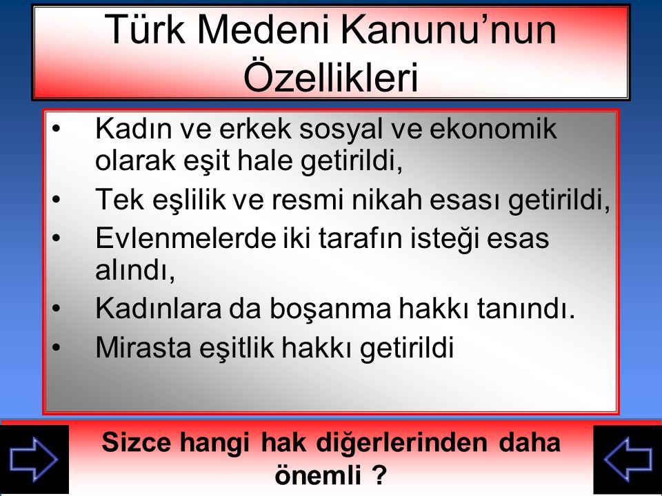 Türk Medeni Kanunu'nun Özellikleri
