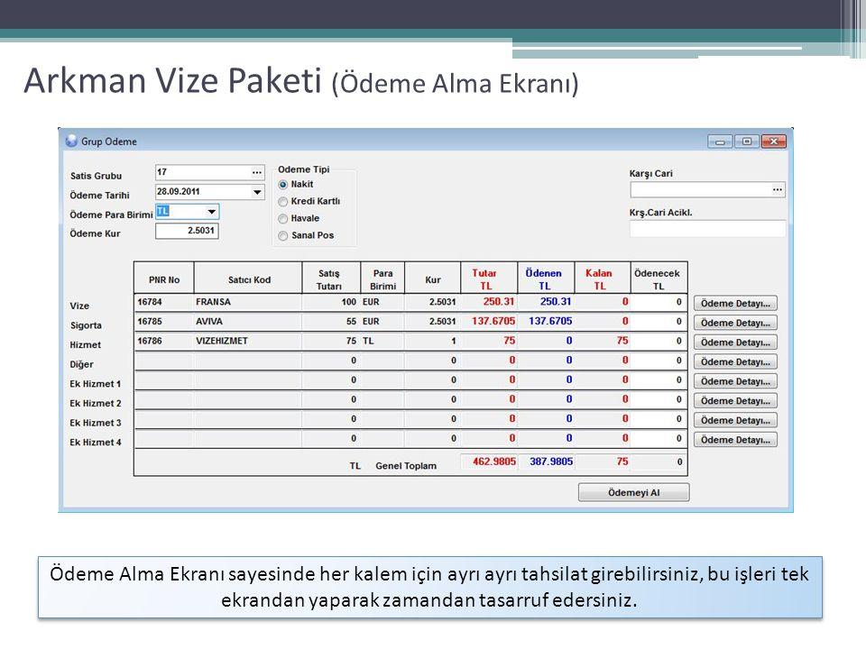 Arkman Vize Paketi (Ödeme Alma Ekranı)
