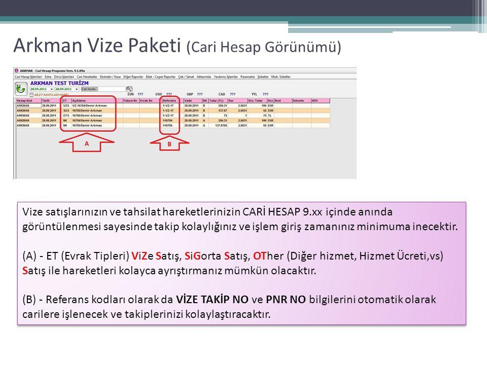 Arkman Vize Paketi (Cari Hesap Görünümü)