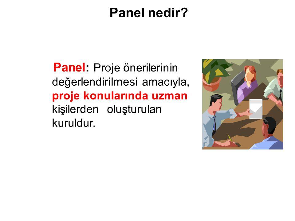 26/03/09 Panel nedir Panel: Proje önerilerinin değerlendirilmesi amacıyla, proje konularında uzman kişilerden oluşturulan kuruldur.