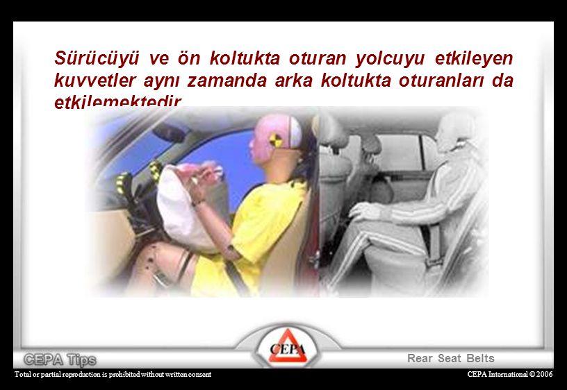 Sürücüyü ve ön koltukta oturan yolcuyu etkileyen kuvvetler aynı zamanda arka koltukta oturanları da etkilemektedir.