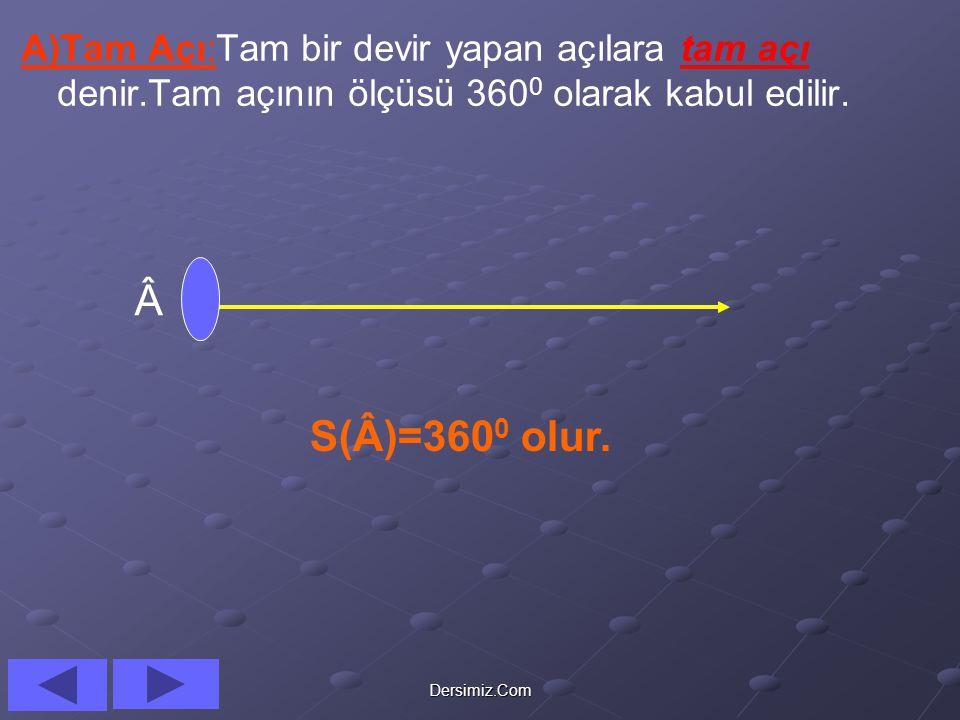 A)Tam Açı:Tam bir devir yapan açılara tam açı denir
