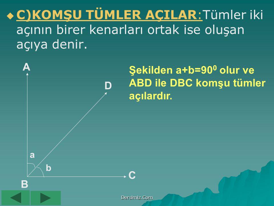 C)KOMŞU TÜMLER AÇILAR:Tümler iki açının birer kenarları ortak ise oluşan açıya denir.