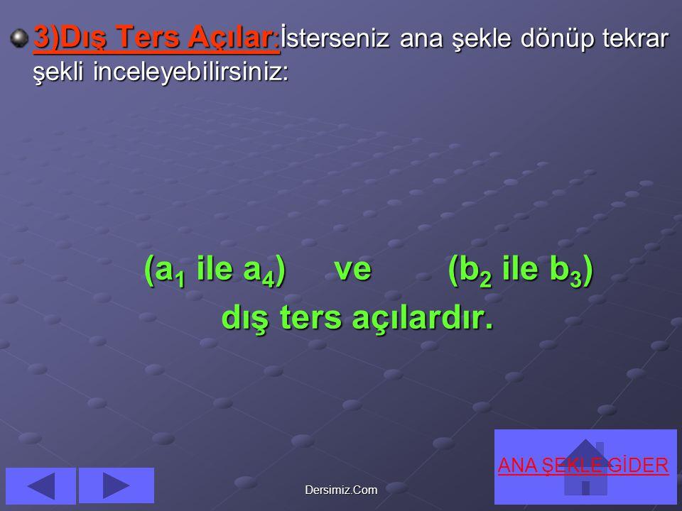 (a1 ile a4) ve (b2 ile b3) dış ters açılardır.
