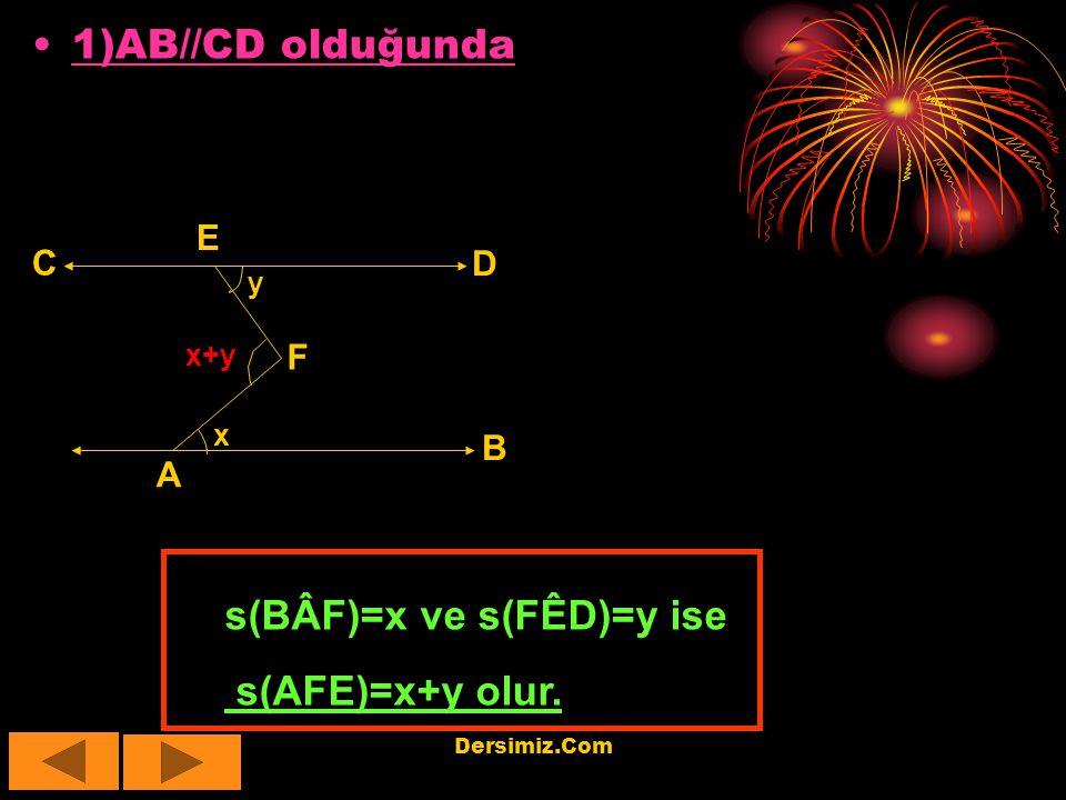 s(BÂF)=x ve s(FÊD)=y ise s(AFE)=x+y olur.