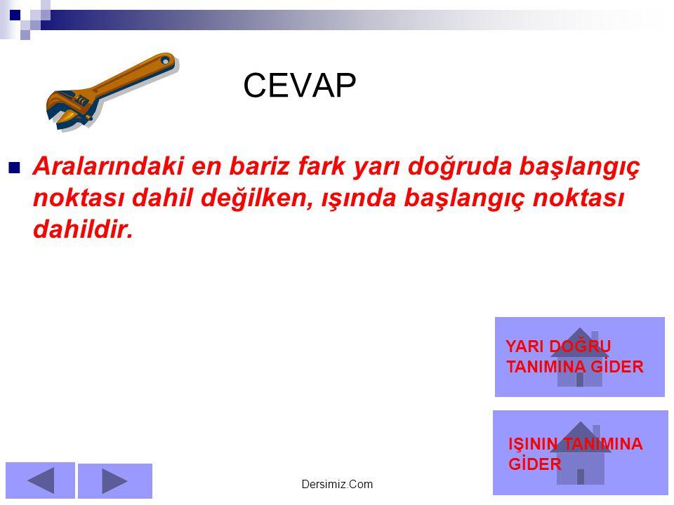 CEVAP Aralarındaki en bariz fark yarı doğruda başlangıç noktası dahil değilken, ışında başlangıç noktası dahildir.