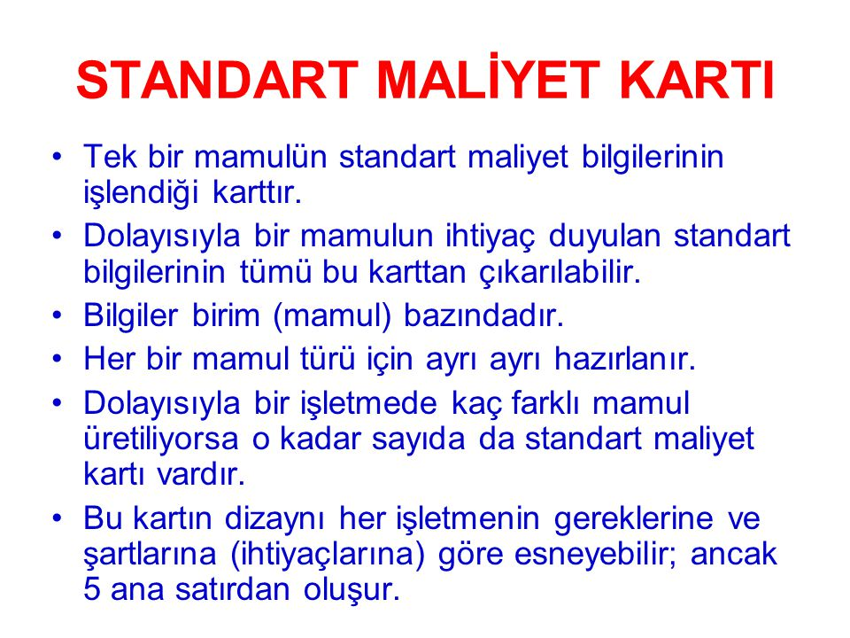 STANDART MALİYET KARTI