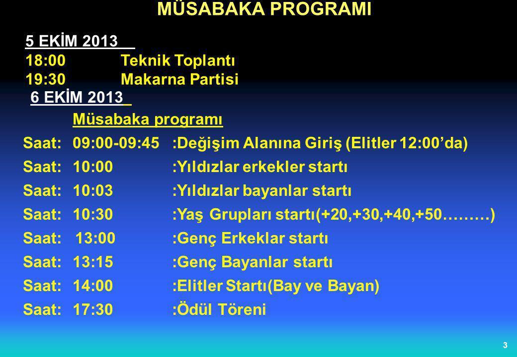 MÜSABAKA PROGRAMI 5 EKİM 2013 18:00 Teknik Toplantı