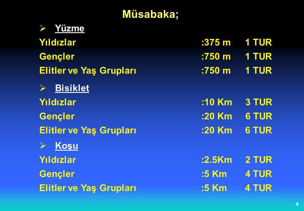 Müsabaka; Yüzme Yıldızlar :375 m 1 TUR Gençler :750 m 1 TUR