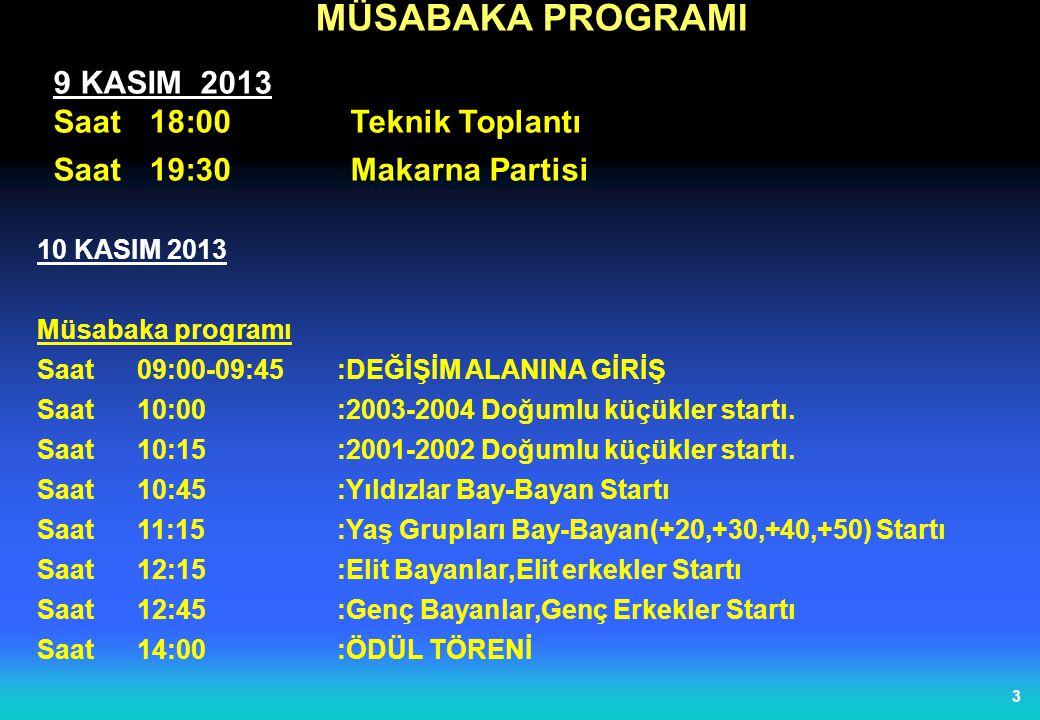 MÜSABAKA PROGRAMI 9 KASIM 2013 Saat 18:00 Teknik Toplantı
