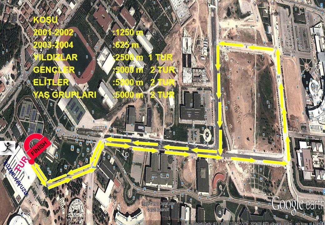 KOŞU 2001-2002 :1250 m 2003-2004 :625 m YILDIZLAR :2500 m 1 TUR