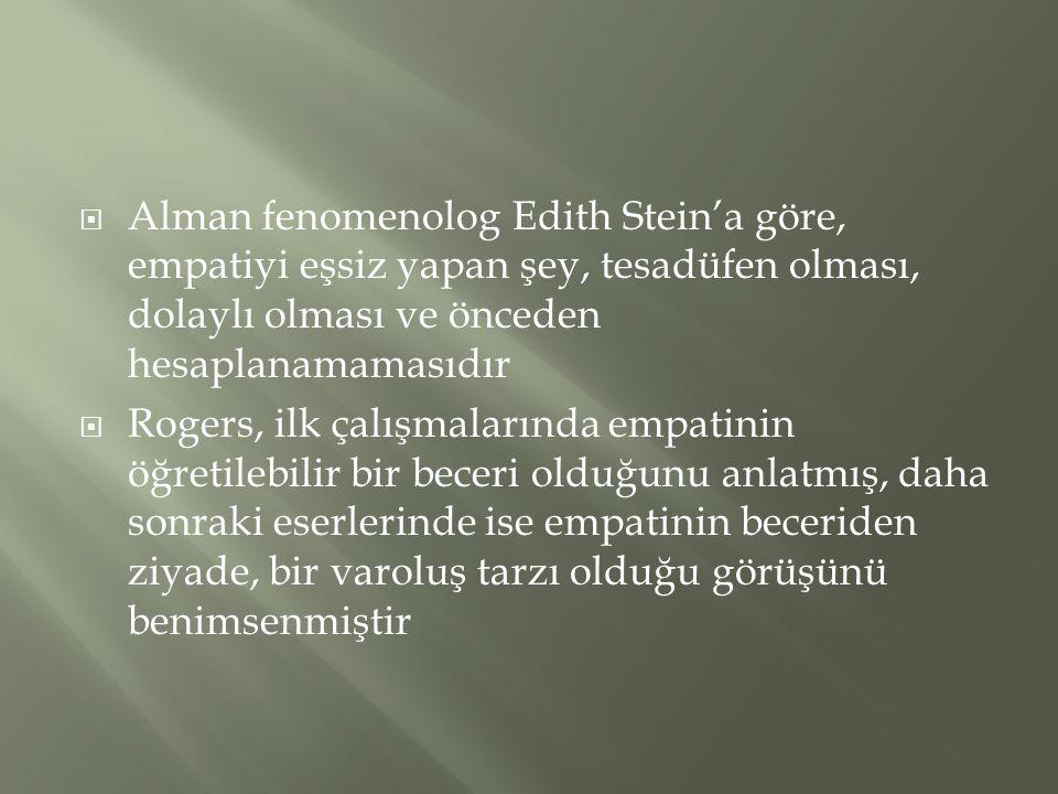 Alman fenomenolog Edith Stein'a göre, empatiyi eşsiz yapan şey, tesadüfen olması, dolaylı olması ve önceden hesaplanamamasıdır