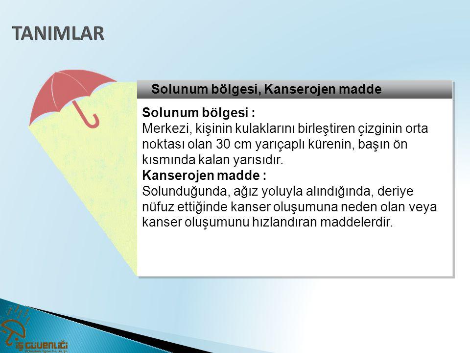 TANIMLAR Solunum bölgesi, Kanserojen madde Solunum bölgesi :