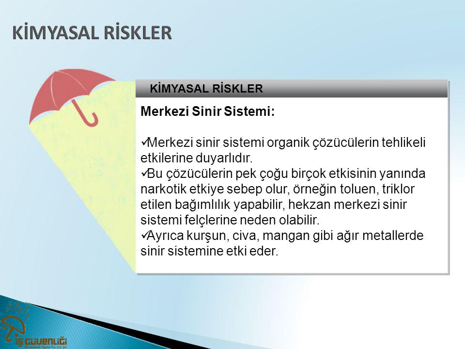 KİMYASAL RİSKLER Merkezi Sinir Sistemi: