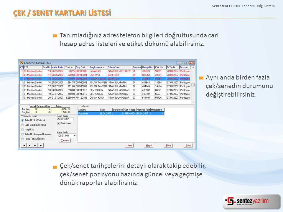 ÇEK / SENET KARTLARI LİSTESİ