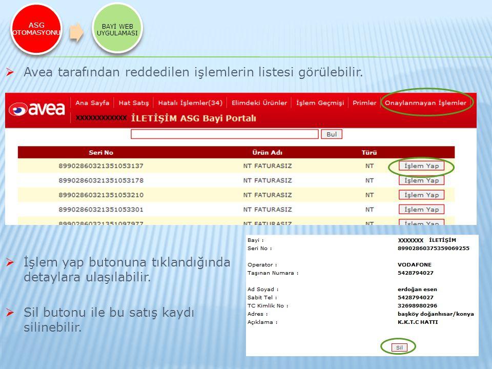 Avea tarafından reddedilen işlemlerin listesi görülebilir.