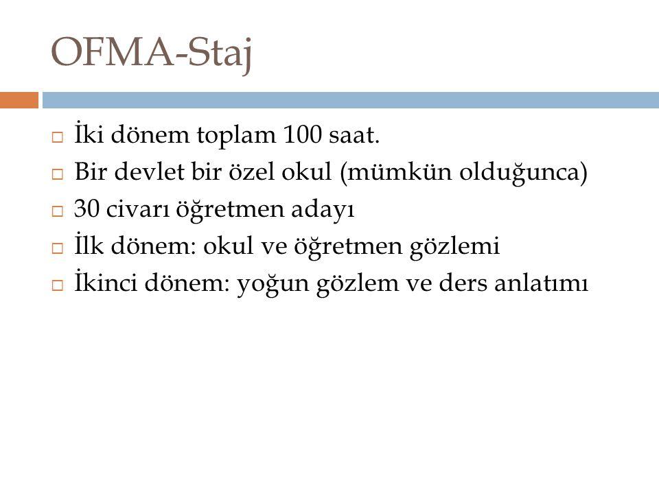OFMA-Staj İki dönem toplam 100 saat.