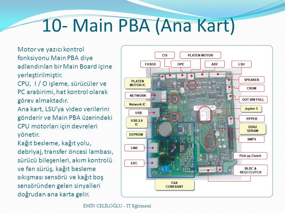 10- Main PBA (Ana Kart) Motor ve yazıcı kontrol fonksiyonu Main PBA diye adlandırılan bir Main Board içine yerleştirilmiştir.