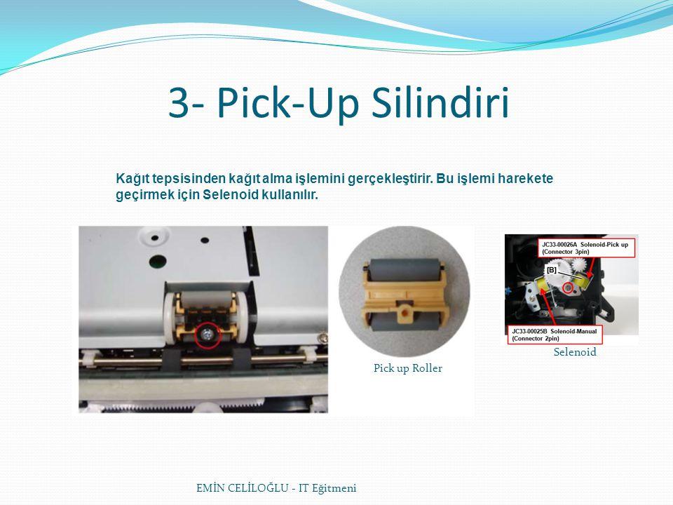 3- Pick-Up Silindiri Kağıt tepsisinden kağıt alma işlemini gerçekleştirir. Bu işlemi harekete geçirmek için Selenoid kullanılır.