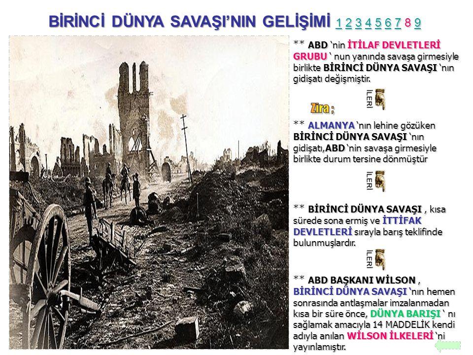 BİRİNCİ DÜNYA SAVAŞI'NIN GELİŞİMİ 1 2 3 4 5 6 7 8 9