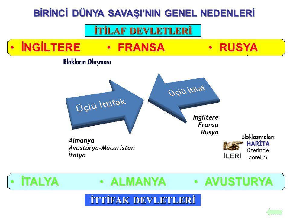 BİRİNCİ DÜNYA SAVAŞI'NIN GENEL NEDENLERİ