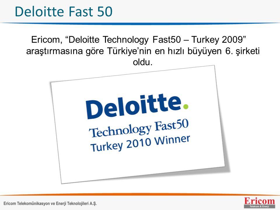 Deloitte Fast 50 Ericom, Deloitte Technology Fast50 – Turkey 2009 araştırmasına göre Türkiye'nin en hızlı büyüyen 6.
