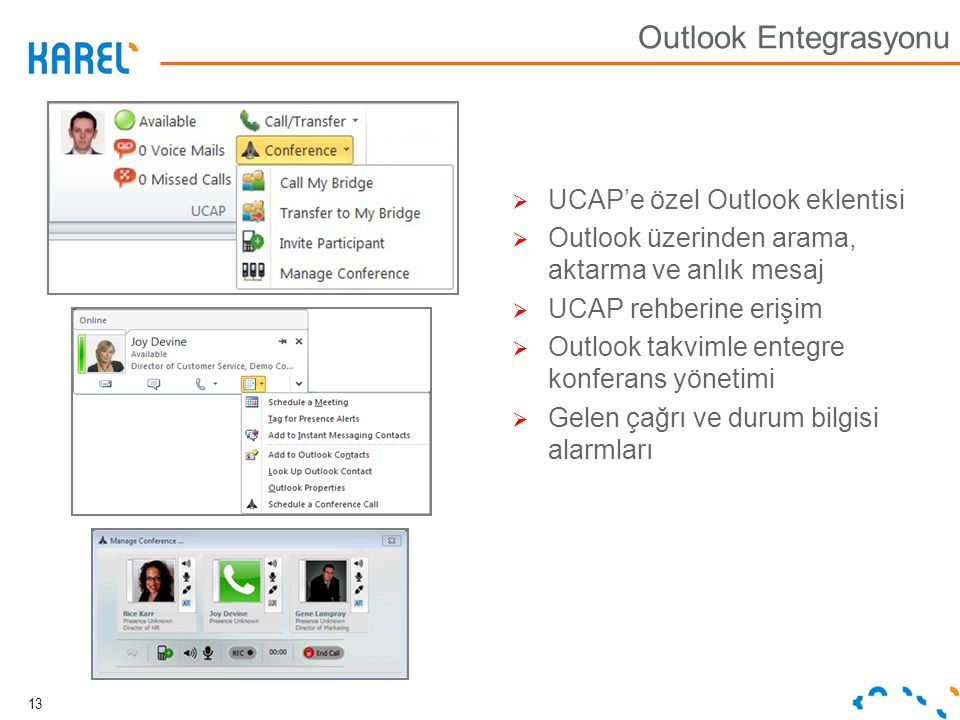 Outlook Entegrasyonu UCAP'e özel Outlook eklentisi