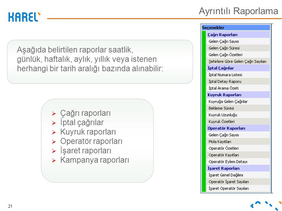 Ayrıntılı Raporlama Aşağıda belirtilen raporlar saatlik,