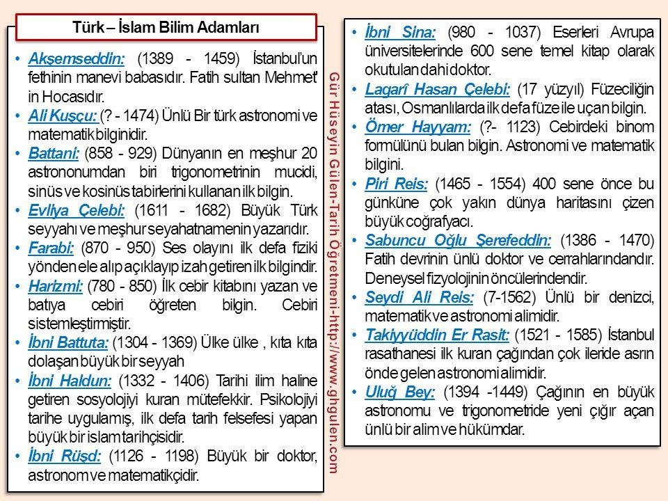 Türk – İslam Bilim Adamları