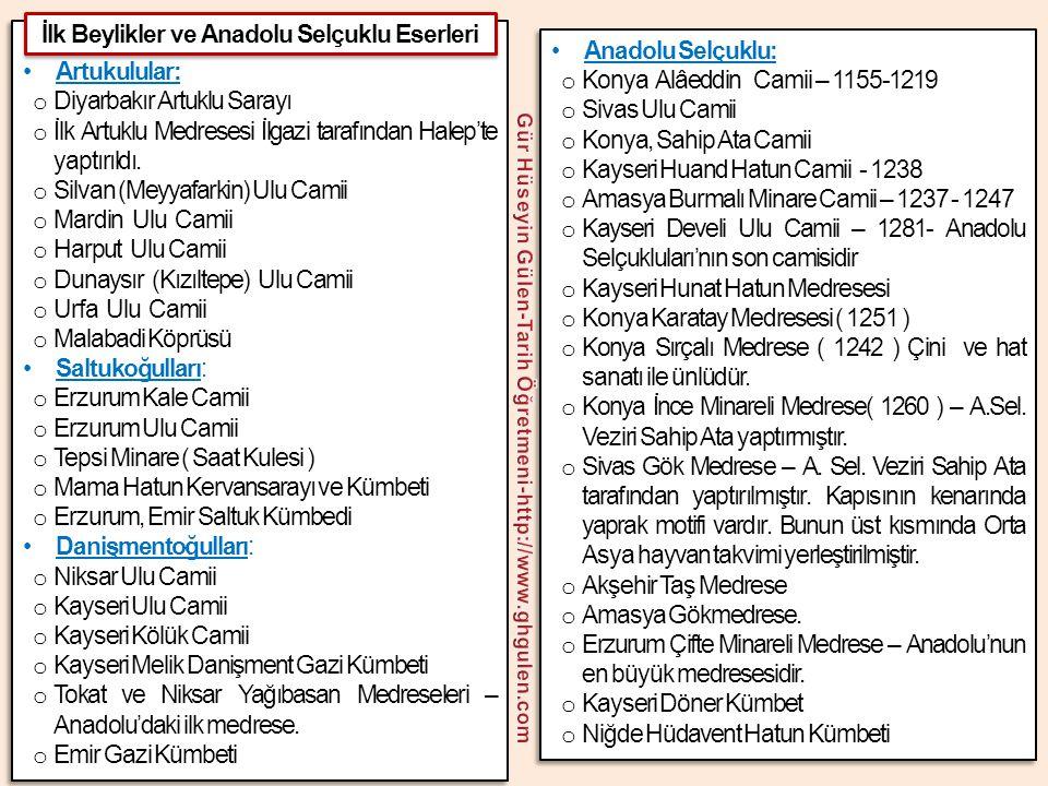 İlk Beylikler ve Anadolu Selçuklu Eserleri