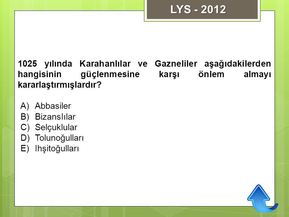 LYS - 2012 1025 yılında Karahanlılar ve Gazneliler aşağıdakilerden hangisinin güçlenmesine karşı önlem almayı kararlaştırmışlardır