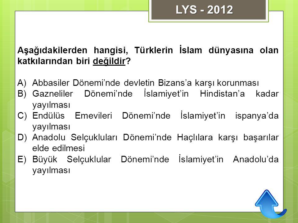 LYS - 2012 Aşağıdakilerden hangisi, Türklerin İslam dünyasına olan katkılarından biri değildir