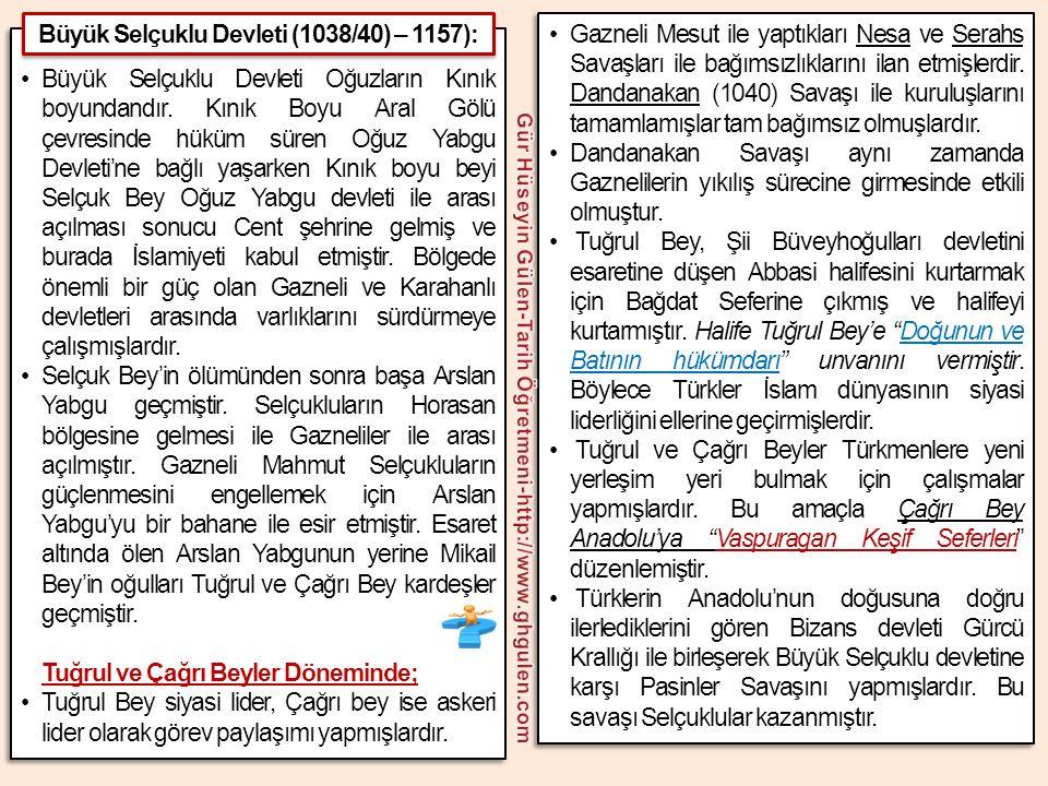 Büyük Selçuklu Devleti (1038/40) – 1157):