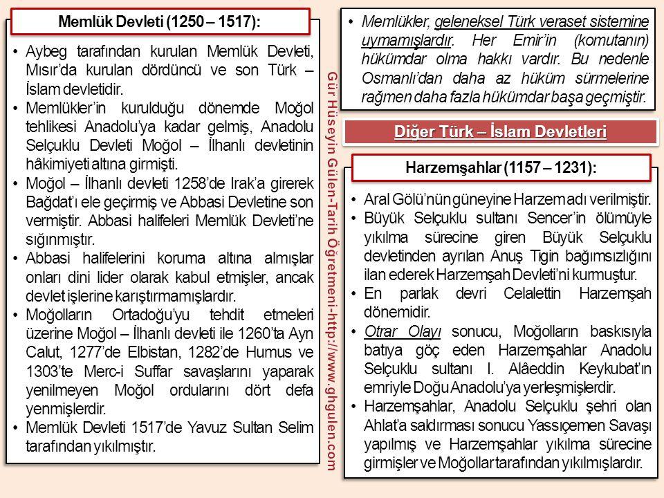 Memlük Devleti 1517'de Yavuz Sultan Selim tarafından yıkılmıştır.