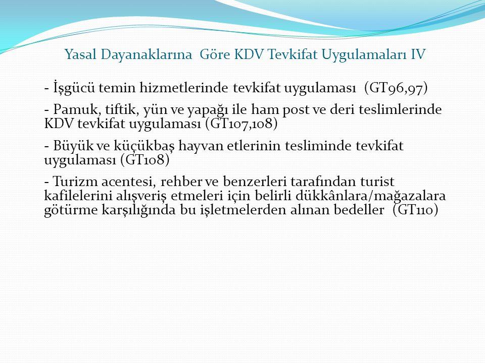 Yasal Dayanaklarına Göre KDV Tevkifat Uygulamaları IV