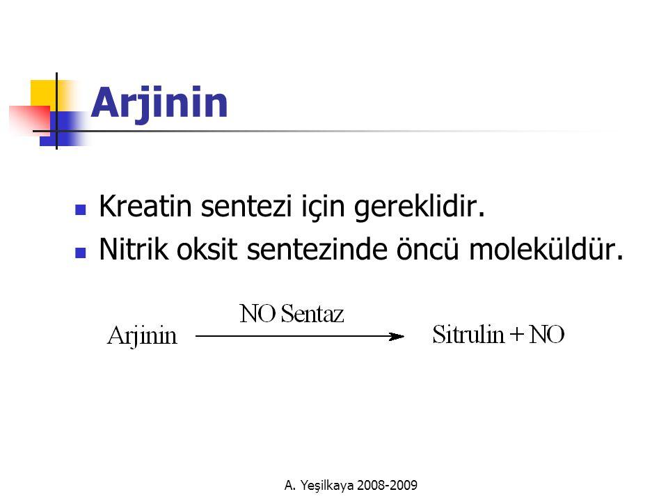 Arjinin Kreatin sentezi için gereklidir.
