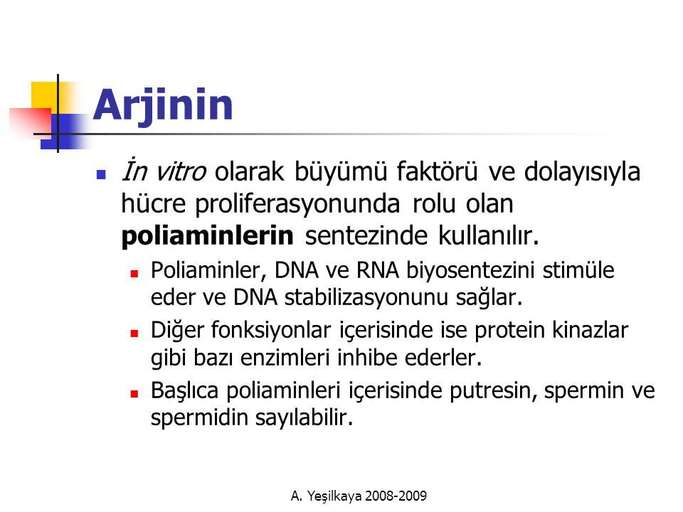 Arjinin İn vitro olarak büyümü faktörü ve dolayısıyla hücre proliferasyonunda rolu olan poliaminlerin sentezinde kullanılır.