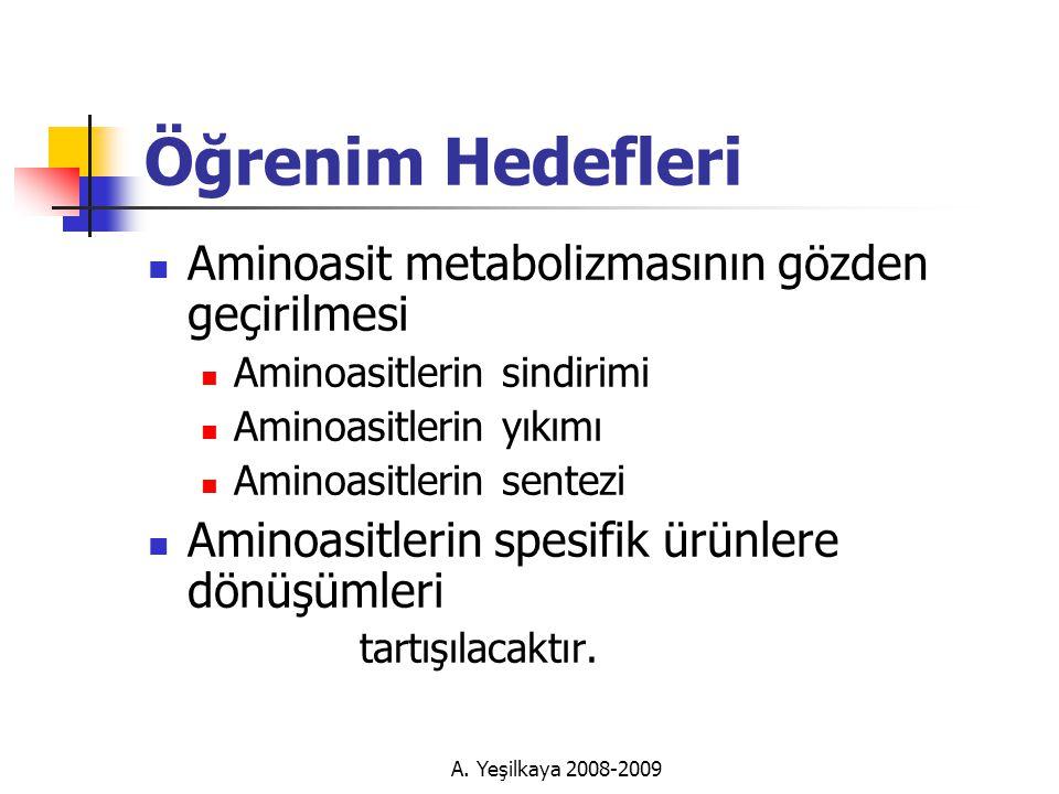 Öğrenim Hedefleri Aminoasit metabolizmasının gözden geçirilmesi